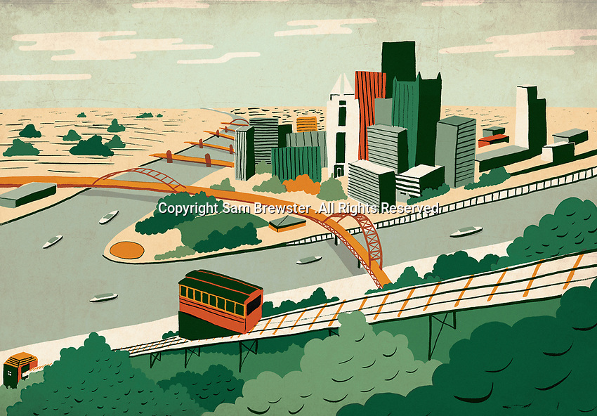 Illustration of Pittsburgh at river confluence
