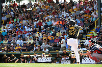 Pittsburgh Pirates shortstop Jung Ho Kang (27) during a Spring Training game against the Boston Red Sox on March 12, 2015 at McKechnie Field in Bradenton, Florida.  Boston defeated Pittsburgh 5-1.  (Mike Janes/Four Seam Images)