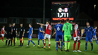 The players shake hands at the end of the game which was won by Carlisle United 2-1 after extra time.<br /> <br /> Photographer Andrew Kearns/CameraSport<br /> <br /> The Carabao Cup First Round - Fleetwood Town v Carlisle United Kingdom - Tuesday 8th August 2017 - Highbury Stadium - Fleetwood<br />  <br /> World Copyright &copy; 2017 CameraSport. All rights reserved. 43 Linden Ave. Countesthorpe. Leicester. England. LE8 5PG - Tel: +44 (0) 116 277 4147 - admin@camerasport.com - www.camerasport.com
