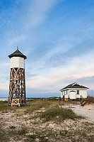 Secluded beach cottage with wooden tower, Outer Banks, North Carolina, USA