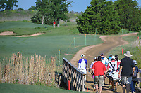 Sung Hyun Park (KOR) leads her group across the bridge on 9 during round 1 of  the Volunteers of America LPGA Texas Classic, at the Old American Golf Club in The Colony, Texas, USA. 5/5/2018.<br /> Picture: Golffile | Ken Murray<br /> <br /> <br /> All photo usage must carry mandatory copyright credit (&copy; Golffile | Ken Murray)