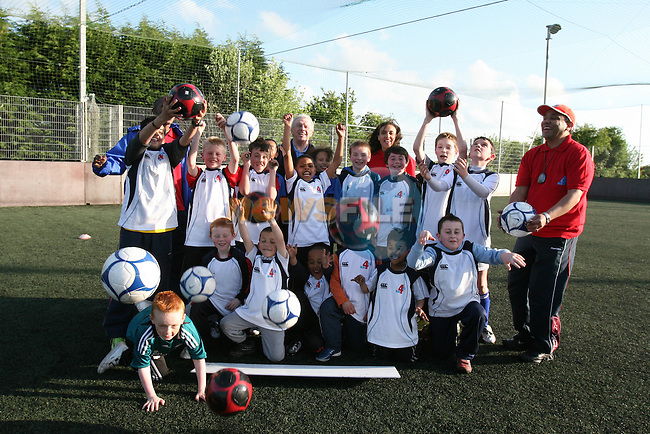 Kids and their Coaches with Johhny Giles, former Ireland International at the Sports Science in Action Day at St Mary's GAA Ground in Ardee...Photo NEWSFILE/Jenny Matthews.(Photo credit should read Jenny Matthews/NEWSFILE)....This Picture has been sent you under the condtions enclosed by:.Newsfile Ltd..The Studio,.Millmount Abbey,.Drogheda,.Co Meath..Ireland..Tel: +353(0)41-9871240.Fax: +353(0)41-9871260.GSM: +353(0)86-2500958.email: pictures@newsfile.ie.www.newsfile.ie.FTP: 193.120.102.198.