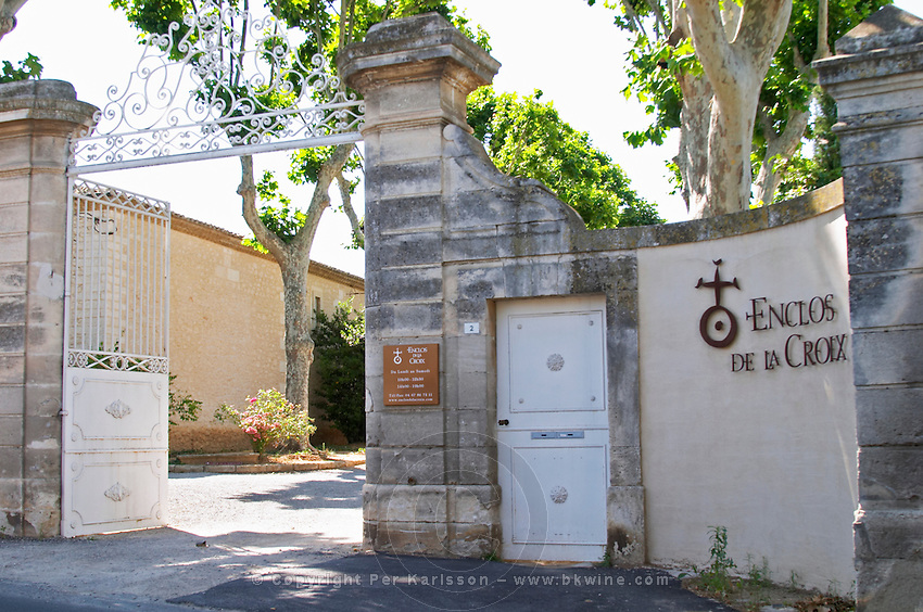 Winery building. The gate. Domaine Enclos de la Croix, Languedoc, France