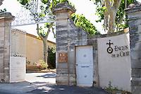 Winery building. The gate. Domaine Enclos de la Croix, Languedoc, France