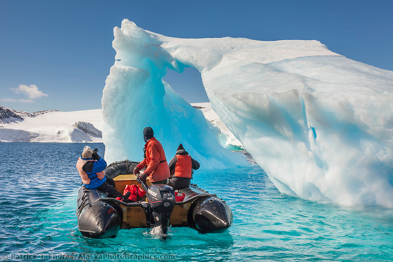 Tourists view Icebergs near Devil Island, northeast side of the Antarctic peninsula.