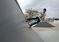 NWA Democrat-Gazette/BEN GOFF @NWABENGOFF<br /> Jose Bernard Palomino of Rogers skates Thursday, March 16, 2017, at the Rogers Skate Park next to the Rogers Activity Center.