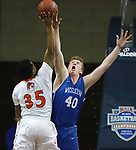 SIOUX FALLS, SD - MARCH 8:  Jason Spicer #40 of Dakota Wesleyan blocks the shot of Jamaal Murray #35 of Governors State at the 2018 NAIA DII Men's Basketball Championship at the Sanford Pentagon in Sioux Falls. (Photo by Dick Carlson/Inertia)