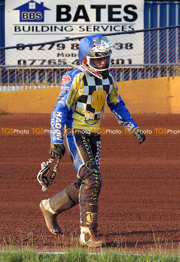 A dejected Brandon Freemantle of Hackney crashes out of Heat 8 - Hackney Hawks vs Newport Hornets - National League Speedway at Rye House - 02/07/11 - MANDATORY CREDIT: Rob Newell/TGSPHOTO - Self billing applies where appropriate - 0845 094 6026 - contact@tgsphoto.co.uk - NO UNPAID USE.