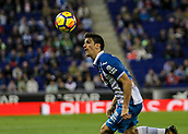 30th October 2017, Cornella-El Prat, Cornella de Llobregat, Barcelona, Spain; La Liga football, Espanyol versus Real Betis; Gerard Moreno of Espanyol dips low to win the header