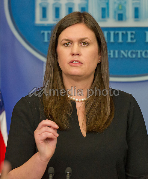 Principal Deputy White House Press Secretary Sarah Huckabee Sanders conduct the Daily Briefing in the Brady Press Briefing Room at the White House in Washington, DC on Monday, July 10, 2017.  This briefing was held off camera, meaning it could not be broadcast either by radio or TV. Photo Credit: Ron Sachs/CNP/AdMedia