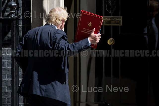 Boris Johnson MP (Secretary of State for Foreign and Commonwealth Affairs).<br /> <br /> London, 15/06/2017. Today, the British Prime Minister, Theresa May, meets the political parties of Northern Ireland - Alliance Party, Ulster Unionist Party, Social Democratic and Labour Party (SDLP), Sinn Fein, Democratic Unionist Party (DUP) - while she is trying to form her new minority Conservative government in coalition with the Democratic Unionist Party (DUP - http://bit.ly/2s93eHf), the largest unionist political party in Northern Ireland. Earlier, Theresa May left Downing Street to pay a visit to the Grenfell Tower in Kensington which was destroyed during the night by a a huge fire causing numerous victims (To see my story &quot;Fire at Grenfell Tower - Aftermath of a Disaster&quot; click here: http://bit.ly/2rESn90 ). Then, the Prime Minister came back to Downing Street to chair the Cabinet Meeting.<br /> After 5 years of the Coalition Government (Conservatives &amp; Liberal Democrats) led by the Conservative Party leader David Cameron, and one year of David Cameron's Government (Who resigned after the Brexit victory at the EU Referendum held in 2016), British people voted in the following way: the Conservative Party won 318 seats (42.4% - 13,667,213 votes &ndash; 12 seats less than 2015), Labour Party 262 seats (40,0% - 12,874,985 votes &ndash; 30 seats more then 2015); Scottish National Party, SNP 35 seats (3,0% - 977,569 votes &ndash; 21 seats less than 2015); Liberal Democrats 12 seats (7,4% - 2,371,772 votes &ndash; 4 seats more than 2015); Democratic Unionist Party 10 seats (0,9% - 292,316 votes &ndash; 2 seats more than 2015); Sinn Fein 7 seats (0,8% - 238,915 votes &ndash; 3 seats more than 2015); Plaid Cymru 4 seats (0,5% - 164,466 votes &ndash; 1 seat more than 2015); Green Party 1 seat (1,6% - 525,371votes &ndash; Same seat of 2015); UKIP 0 seat (1.8% - 593,852 votes); others 1 seat.<br /> <br /> The definitive turn out of the election was 68.7%, 2% higher th