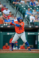 Syracuse Mets Rene Rivera (44) bats during an International League game against the Buffalo Bisons on June 29, 2019 at Sahlen Field in Buffalo, New York.  Buffalo defeated Syracuse 9-3.  (Mike Janes/Four Seam Images)