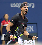 September  8, 2017:  Rafael Nadal (ESP) defeated Juan Martin Delpotro (ARG)  4-6, 6-0, 6-3, 6-2, at the US Open being played at Billy Jean King National Tennis Center in Flushing, Queens, New York. Leslie Billman/EQ