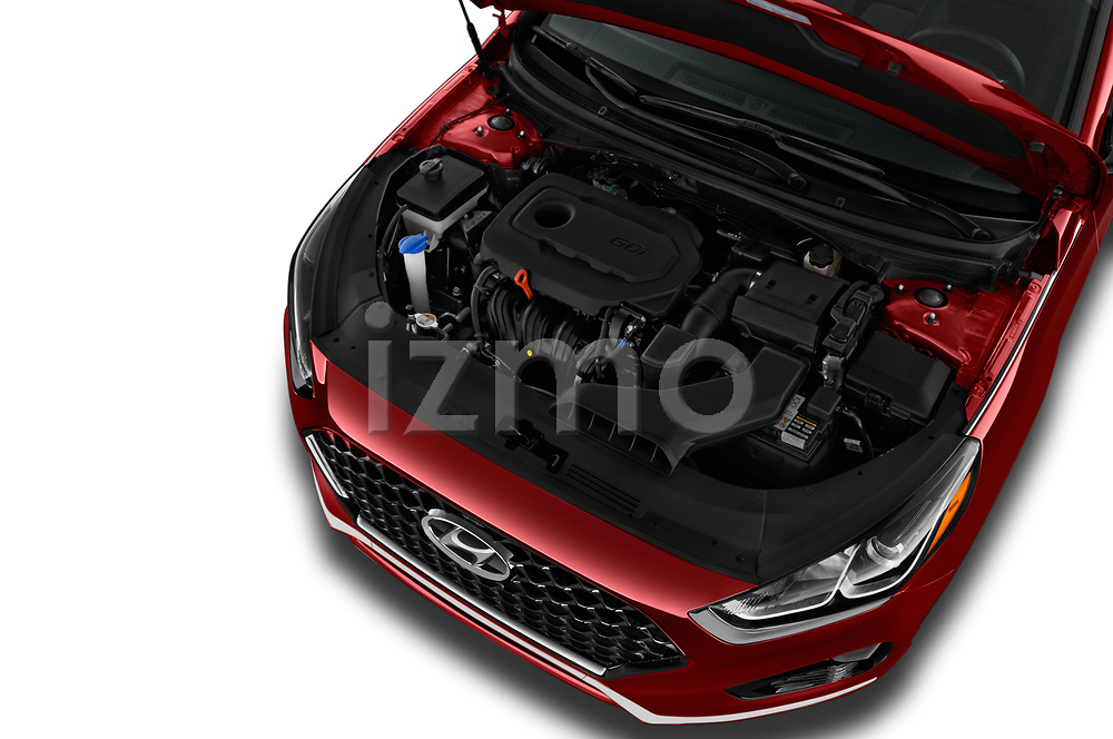 Car stock 2018 Hyundai Sonata Sport 4 Door Sedan engine high angle detail view