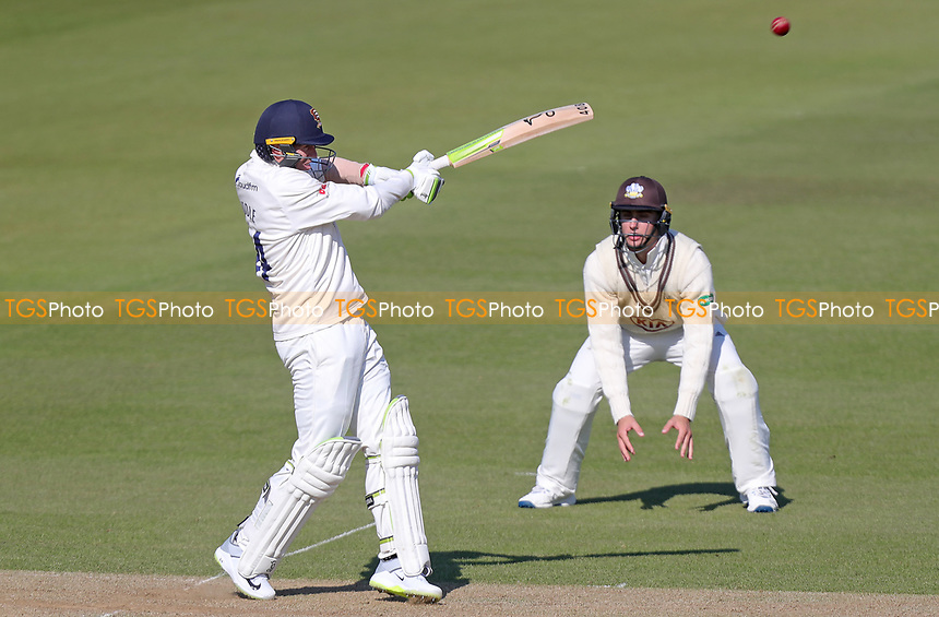 Peter Siddle of Essex hits the ball straight down the ground for four runs during Surrey CCC vs Essex CCC, Specsavers County Championship Division 1 Cricket at the Kia Oval on 13th April 2019