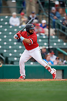 Rochester Red Wings Wilin Rosario (20) bats during an International League game against the Charlotte Knights on June 16, 2019 at Frontier Field in Rochester, New York.  Rochester defeated Charlotte 11-5 in the first game of a doubleheader that was a continuation of a game postponed the day prior due to inclement weather.  (Mike Janes/Four Seam Images)