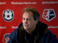 North Carolina head coach Anson Dorrance talks to the media after the game at the Maryland SportsPlex in Boyds, MD.  The Washington Spirit defeated the North Carolina Tar Heels in a preseason exhibition, 2-0.