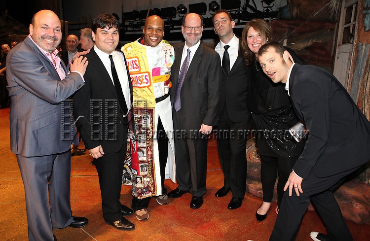 Michael James Scott (Recipient) with Casey Nicholaw, Robert Lopez, Scott Rudin, Trey Parker & Matt Stone.attending the Broadway Opening Night Gypsy Robe for 'The Book Of Mormon' and the Gypsy Robe recipient Michael James Scott at The Eugene O'Neill Theatre in New York City.