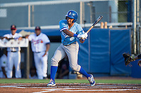 Jose Sanchez (2) of the Burlington Royals at bat against the Danville Braves at American Legion Post 325 Field on August 16, 2016 in Danville, Virginia.  The game was suspended due to a power outage with the Royals leading the Braves 4-1.  (Brian Westerholt/Four Seam Images)