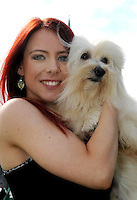 19-8-2014: KILLARNEY DOG SHOW: Pictured at the Killarney District Canine Club dog show on Tuesday were Olivia Carty, Drogheda with 'Castro' a Havanese, the official Dog of Cuba<br /> Picture by Mary Susan MacMonagle