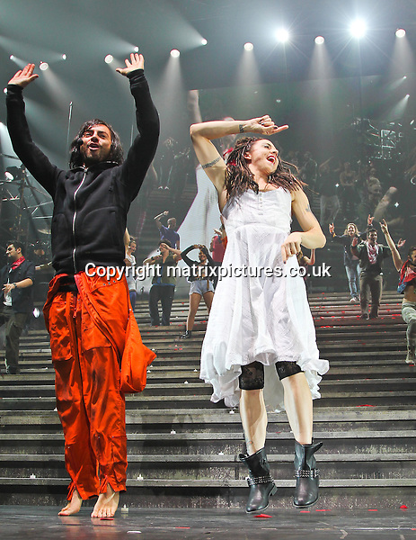 NON EXCLUSIVE PICTURE: MATRIXPICTURES.CO.UK.PLEASE CREDIT ALL USES..WORLD RIGHTS..Actor Ben Forster and Melanie Chisholm are pictured performing as Jesus, Peter, and Mary Magdalene, during the Jesus Christ Superstar Arena Tour, held at Manchester's MEN Arena...SEPTEMBER 30th 2012..REF: MMY 124236
