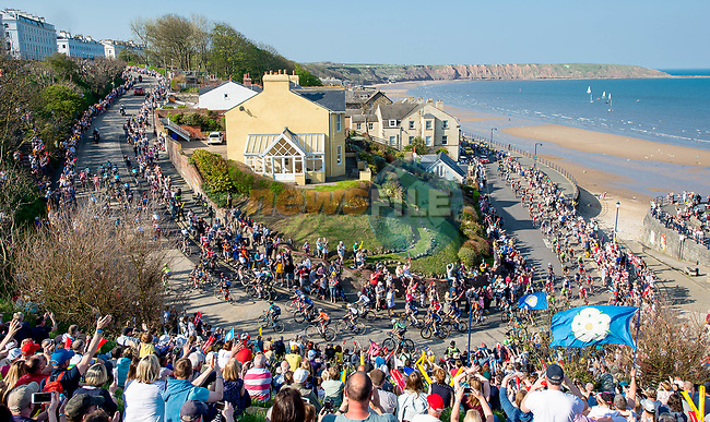 The peleton in action during Stage 3 of the Tour de Yorkshire 2018 running 181km from Richmond to Scarborough, England. 5th May 2018.<br /> Picture: ASO/Alex Broadway | Cyclefile<br /> <br /> <br /> All photos usage must carry mandatory copyright credit (© Cyclefile | ASO/Alex Broadway)