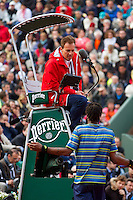 31-05-13, Tennis, France, Paris, Roland Garros,  Gael Monfils in discussion with the umpire