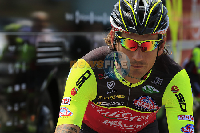 Filippo Pozzato (ITA) Wilier Triestina-Selle Italia at sign on before Stage 1 of the 100th edition of the Giro d'Italia 2017, running 206km from Alghero to Olbia, Sardinia, Italy. 4th May 2017.<br /> Picture: Eoin Clarke | Cyclefile<br /> <br /> <br /> All photos usage must carry mandatory copyright credit (&copy; Cyclefile | Eoin Clarke)