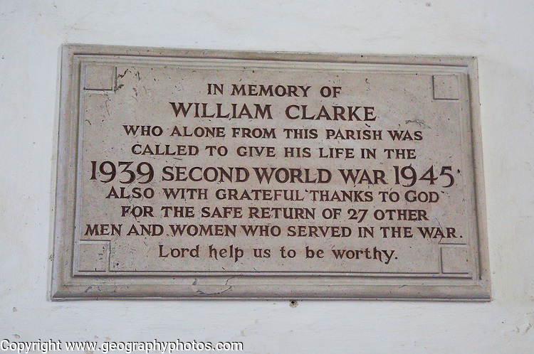 Village second world war memorial to fallen, Saint Andrew church, Westhall, Suffolk, England, UK