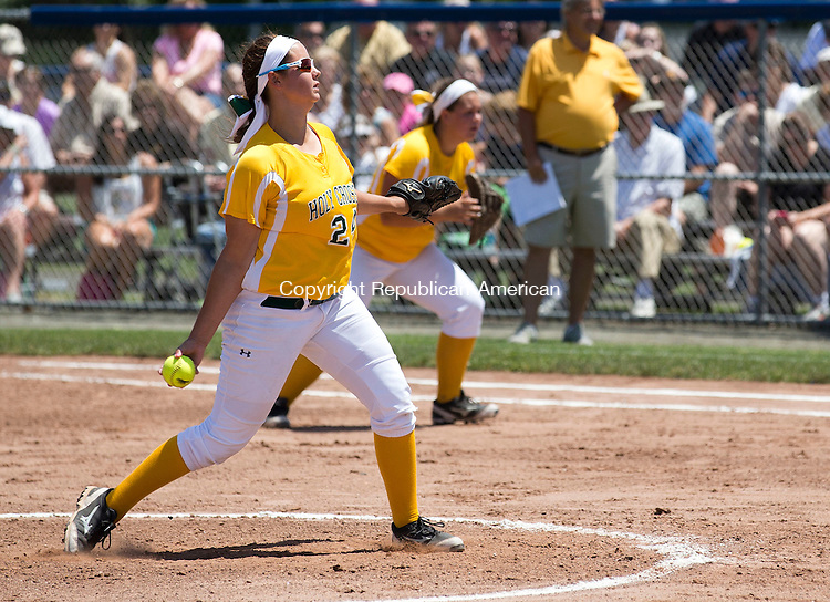 West Haven, CT- 13 June 2015-061315CM07-   Holy Cross sophomore Sarah Lawton leads their team to a 4-0 win over Thomaston during the Class S state softball final in West Haven on Saturday.  Christopher Massa Republican-American