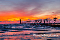 64795-02617 South Haven Lighthouse at sunset South Haven,  MI