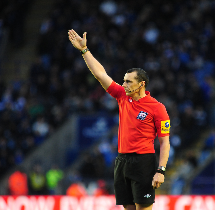 Referee Neil Swarbrick .. - (Photo by Chris Vaughan/CameraSport) - ..Football - npower Football League Championship Play-Offs Semi-Final First Leg - Leicester City v Watford - Thursday 9th May 2013 - King Power Stadium - Leicester..© CameraSport - 43 Linden Ave. Countesthorpe. Leicester. England. LE8 5PG - Tel: +44 (0) 116 277 4147 - admin@camerasport.com - www.camerasport.com