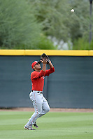 Los Angeles Angels of Anaheim outfielder Michael Hermosillo (28) during an Instructional League game against the Arizona Diamondbacks on October 7, 2014 at Salt River Fields at Talking Stick in Scottsdale, Arizona.  (Mike Janes/Four Seam Images)