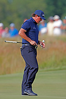 Phil Mickelson (USA) bounces his ball off his putter while waiting to putt on the 16th hole during the second round of the 118th U.S. Open Championship at Shinnecock Hills Golf Club in Southampton, NY, USA. 15th June 2018.<br /> Picture: Golffile | Brian Spurlock<br /> <br /> <br /> All photo usage must carry mandatory copyright credit (&copy; Golffile | Brian Spurlock)