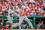 3 April 2017: Miami Marlins outfielder Giancarlo Stanton hits an RBI double to open the scoring in the 4th inning against the Washington Nationals on Opening Day at Nationals Park in Washington, DC. The Nationals defeated the Marlins 4-2 to open the 2017 MLB Season. Mandatory Credit: Ed Wolfstein Photo *** RAW (NEF) Image File Available ***