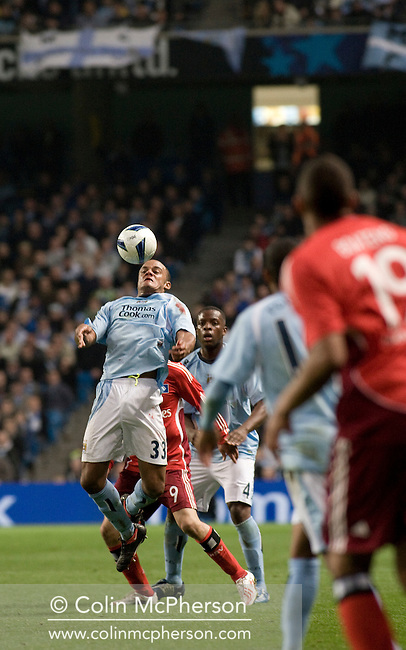 Manchester City's former Hamburg player Vincent Kompany in action at the City of Manchester Stadium, home to Manchester City FC, during the UEFA Cup quarter final second leg match with Hamburg SV. Several thousand fans of the German club made the trip to manchester to see their side progress to an all-German semi-final with Werder Bremen. Although Hamburg lost 2-1 in Manchester they went through 4-3 on aggregate after winning last week's first-leg 3-1.