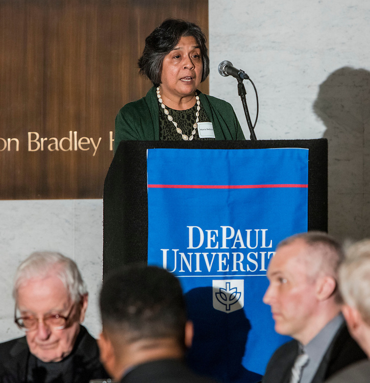 Maria Beltran-Vocal, professor of Spanish, Modern Languages in the College of Liberal Arts and Social Sciences, offers reflections on her past 30 years at DePaul during the 28th annual Distinguished Service Awards luncheon, Tuesday, May 10, 2016, at the Chicago Cultural Center. The event, sponsored by the Office of Mission and Values, recognizes DePaul employees who have reached work anniversary milestones between five and 50-years, in increments of five years. (DePaul University/Jeff Carrion)