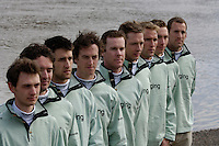 PUTNEY, LONDON, ENGLAND, 06.03.2006, Cambridge line up on the shore, during the photo session held at 2006 Presidents Challenge and Boat Race Crew announcement, held at the Winchester Club, Putney, London   © Peter Spurrier/Intersport-images.com..CUBC, Bow Luke Walton, No. 2 Tom Edwards, No.3 Sebastian Thormann, No 4. Thorsten Englemann, No.5 Sebastian Schulte, No.6 Kieran West, No.7 Tom James, stroke Kip McDaniel and cox Peter Rudge..[Mandatory Credit Peter Spurrier/ Intersport Images] Varsity:Boat Race