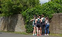 Maidenhead. Berkshire. United Kingdom. <br /> <br /> Women's junior four, confer, between races. 2017 Maidenhead Junior Regatta  River Thames. <br /> <br /> [&copy;Peter SPURRIER/Intersport Images] Sunday. 14.05.2017
