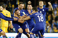 June 7, 2016: GIANNIS MANIATIS (2) of Greece celebrates his goal during an international friendly match between the Australian Socceroos and Greece at Etihad Stadium, Melbourne. Photo Sydney Low