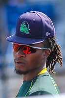 Beloit Snappers outfielder JaVon Shelby (5) looks on from the top step of the dugout during a Midwest League game against the Cedar Rapids Kernels on September 3, 2017 at Pohlman Field in Beloit, Wisconsin. Beloit defeated Cedar Rapids 3-2. (Brad Krause/Four Seam Images)