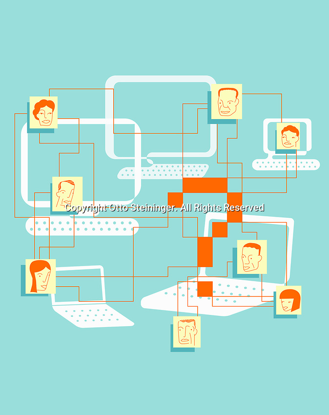 Faces of people connected by computers and question mark ExclusiveImage
