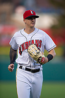 Indianapolis Indians center fielder Kevin Newman (2) jogs off the field between innings of an International League game against the Columbus Clippers on April 29, 2019 at Victory Field in Indianapolis, Indiana. Indianapolis defeated Columbus 5-3. (Zachary Lucy/Four Seam Images)