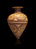 Mycenaean ovoid rhython with spiral design , Grave II, Grave Circle A, Mycenae 16-15 Cent BC. National Archaeological Museum Athens. Cat No 221.