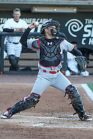 Great Lakes Loons catcher Brant Whiting (1) throws down to second base between innings during a Midwest League game against the Wisconsin Timber Rattlers on April 26th, 2016 at Fox Cities Stadium in Appleton, Wisconsin.  Wisconsin defeated Great Lakes 4-3. (Brad Krause/Four Seam Images)