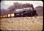 4D&amp;RGW #76 K-28 pulling passenger cars, baggage car with excursion train to Silverton.<br /> D&amp;RGW  n. of Durango, CO