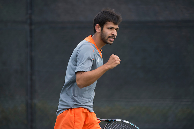 April 25, 2014; San Diego, CA, USA; Pepperdine Waves player Rakshay Thakkar during the WCC Tennis Championships at Barnes Tennis Center.
