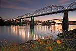 Downtown Chattanooga and the Tennesse River at dusk.