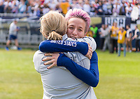 CHICAGO, IL - OCTOBER 6: Jill Ellis of the United States hugs Megan Rapinoe #15 during a game between Korea Republic and USWNT at Soldier Field on October 6, 2019 in Chicago, Illinois.