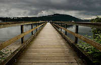 Wooden Jetty stretching over the water close to  Deep Cove,Vancouver, British Columbia, Canada